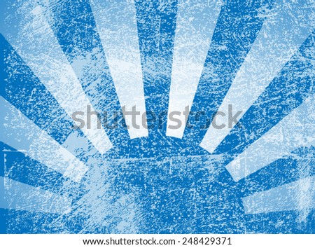 Rising or setting sun with sun rays in blue. Vector - stock vector