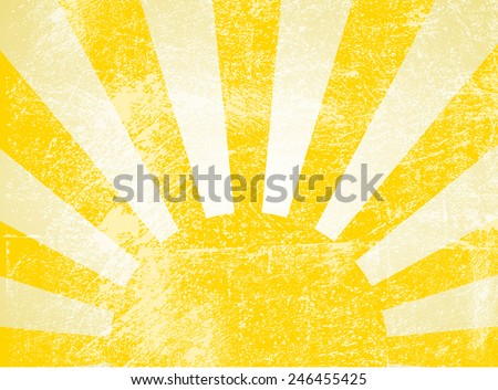 Rising or setting sun with sun rays in yellow. Vector - stock vector