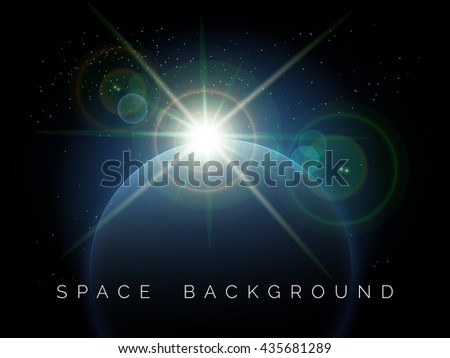 Rising Star over the planet. Space background. Free font used. - stock vector