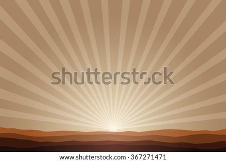 rising sun background - stock vector