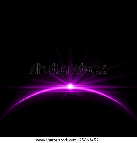 Rising Sun over the Earth Planet with Space Background for your Text. Vector Illustration - stock vector