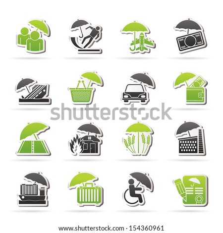 Risk and business icons - vector icon set - stock vector