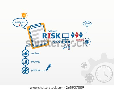 Risk concept and notebook. Hand writing Risk with blue marker - stock vector