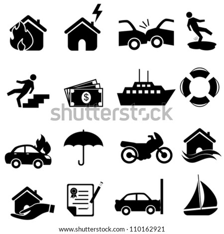 Risk  icon set in black - stock vector