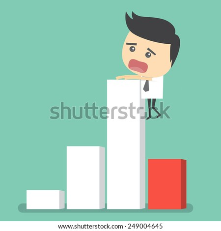 Risk in a graph going down of businessman - stock vector