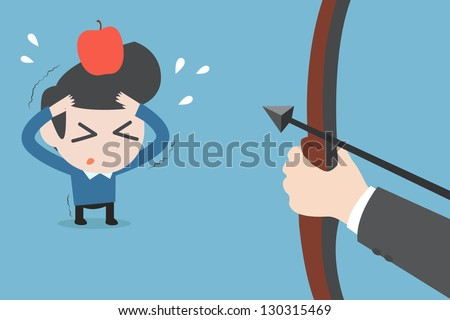 risk man and apple , vector - stock vector