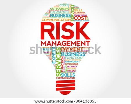 Risk Management bulb word cloud, business concept - stock vector