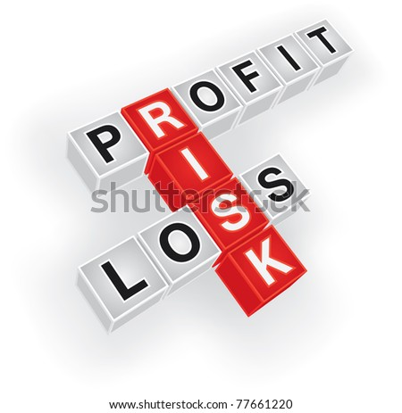 Risk, Profit and Loss crossword - stock vector