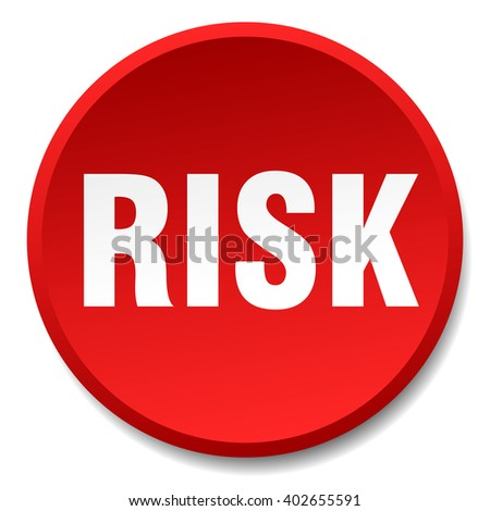 risk red round flat isolated push button