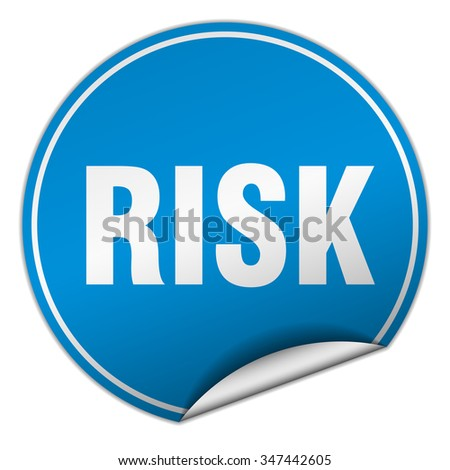 risk round blue sticker isolated on white