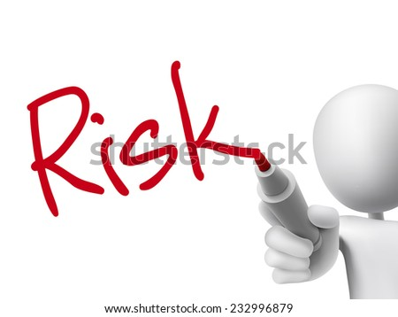 risk word written by 3d man over transparent board - stock vector