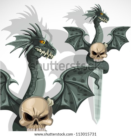 Ritual dagger with a dragon and a skull on the handle - stock vector