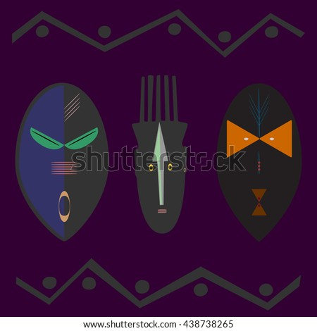 Ritual masks on the face in an abstract style. Eps 8. - stock vector