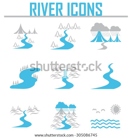 River and Landscape icons - stock vector