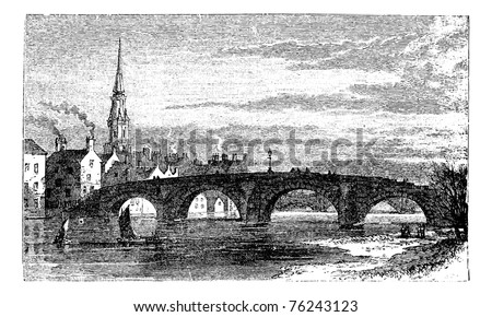 River Ayr Bridges. Old Bridge or Auld Brig over Ayr River, in Scotland, during the 1890s, vintage engraving. Old engraved illustration of the Old Bridge over the Ayr River. - stock vector