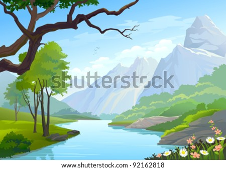 RIVER FLOWING THROUGH HILLS AND MOUNTAIN