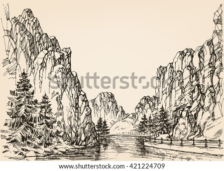 River in the mountains - stock vector