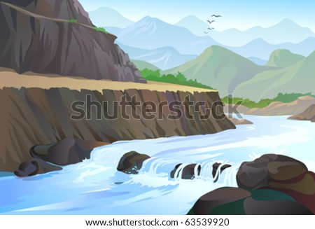 RIVER TAKING SHARP TURN  IN   HILLS - stock vector