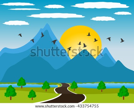 River valley at sunset - stock vector