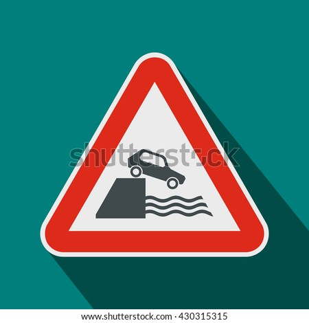 Riverbank traffic sign icon, flat style - stock vector
