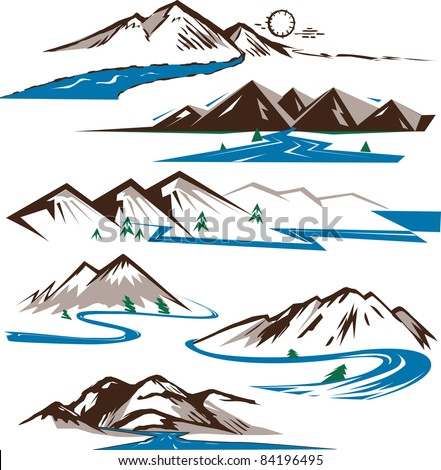 Rivers and Mountains - stock vector
