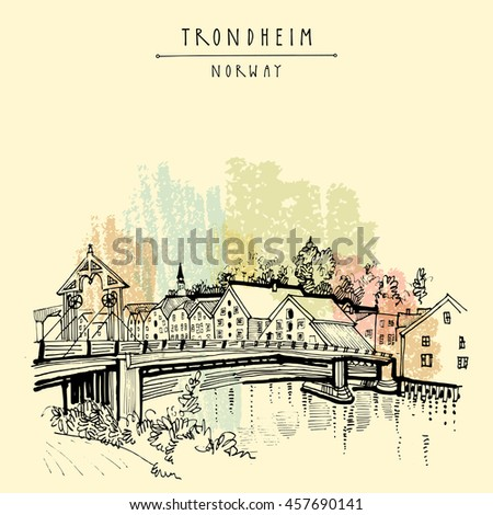 Riverside and amazing historic bridge in Trondheim, Norway, Europe. Old town, wooden houses and a church. Hand drawing. Vintage touristic postcard, poster, calendar or book illustration in vector