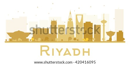 Riyadh City skyline golden silhouette. Vector illustration. Simple flat concept for tourism presentation, banner, placard or web site. Business travel concept. Riyadh isolated on white background - stock vector
