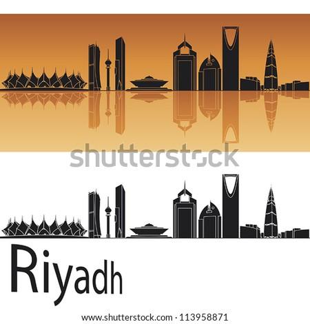Riyadh skyline in orange background in editable vector file - stock vector