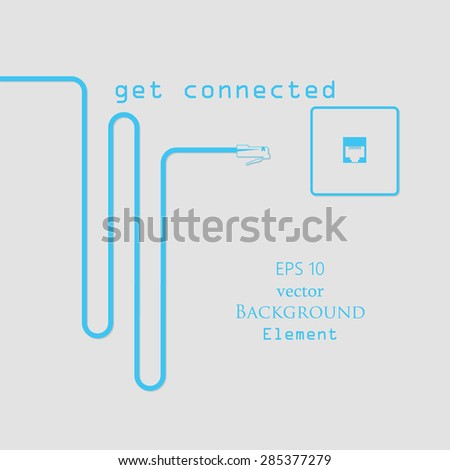 RJ45 Get Connected Abstract Vector Background Illustration Gray Cyan - stock vector