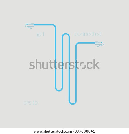 RJ45 LAN Patch Cable Get Connected Abstract Vector Background Illustration Gray Cyan - stock vector