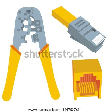 Rj45 pliers - stock vector