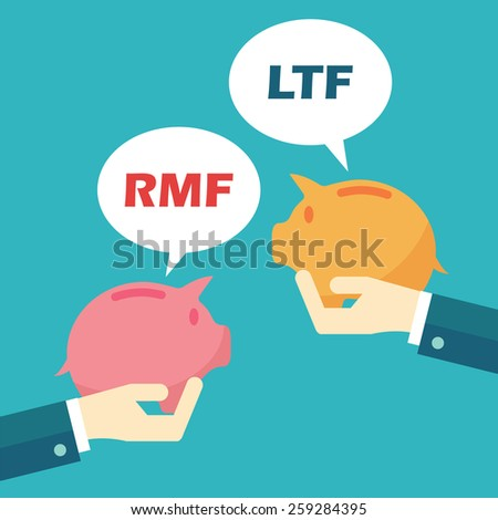 rmf and ltf, mutual funds concept - stock vector