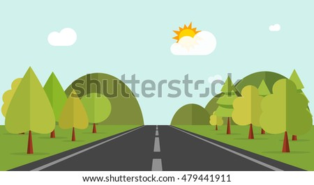 Road across green forest and hills vector illustration, flat cartoon mountains, forest, road and nature landscape, highway summer view to horizon