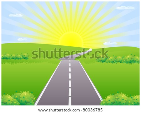 Road against the backdrop of the rising sun among meadows disappearing over the horizon - stock vector