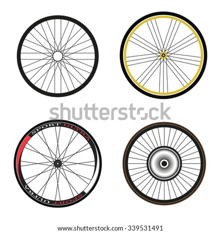 Road and Sport Bike Wheels and Tires - stock vector