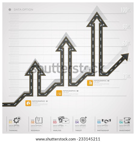 Road And Street Traffic Sign Arrow Step Business Infographic Design Template - stock vector