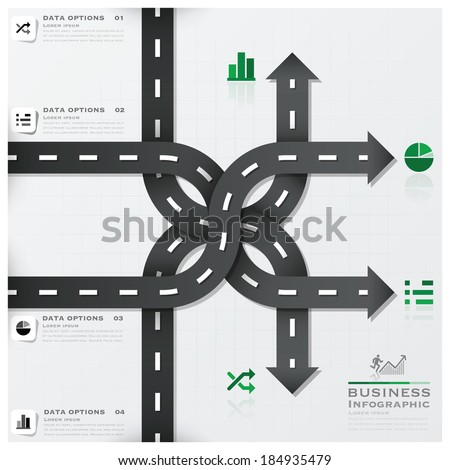 Road And Street Traffic Sign Business Infographic Design Template - stock vector