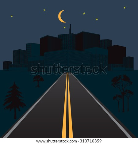 Road at night with view of the city skyline. Conceptual vector illustration in flat design for web sites, Infographic design - stock vector
