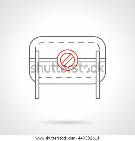 Road barrier with prohibition sign. Objects for traffic restrictions near construction, road repair works. Flat black and red line vector icon. - stock vector