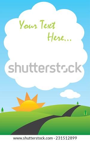Road between mountains landscape scenery cartoon - stock vector