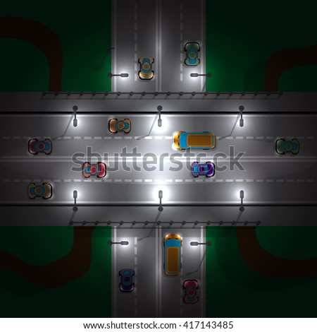 Road bridge at night.  View from above. Vector illustration.   - stock vector