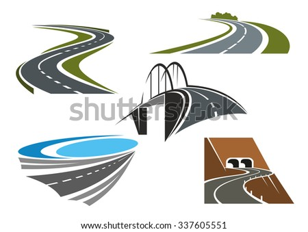 Road bridge, winding highways with green roadsides and mountain road tunnels icons set, for transportation theme design - stock vector