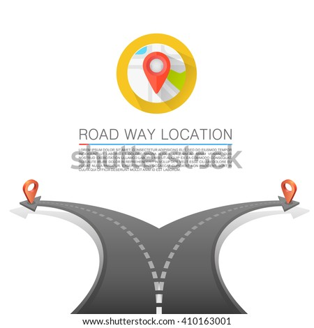 Road choice, Road arrow cover, Road way location, Vector background - stock vector