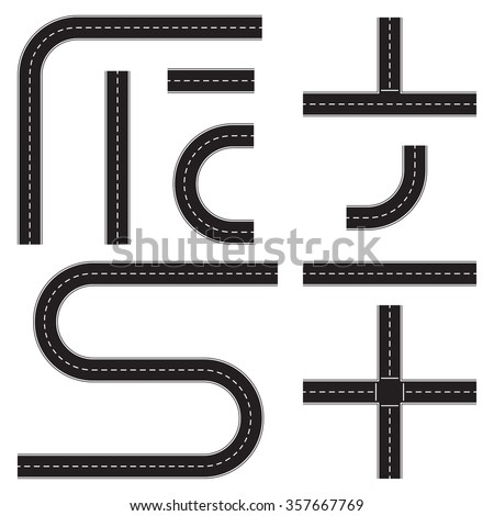 Road construction set. Highway map toolkit. Connectable road elements. Vector illustration of winding road. - stock vector