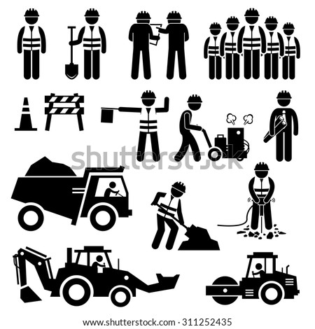 Road Construction Worker Stick Figure Pictogram Icons - stock vector