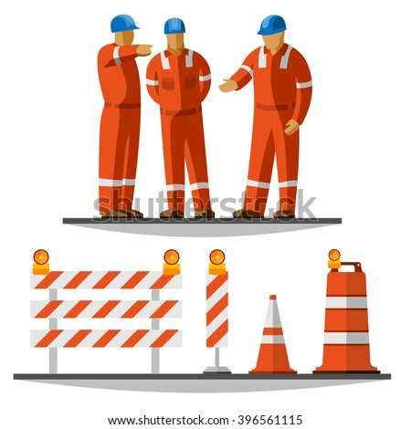 Road construction workers group discussion with helmet and coverall with traffic safety cone, drum, barricade and vertical panel with flash lights. Vector isolated illustration - stock vector