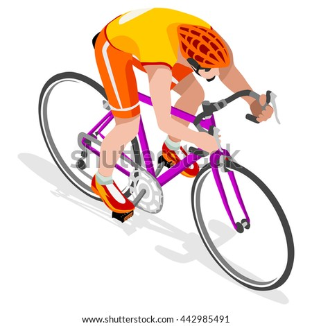Road Cycling Cyclist Bicyclist Athletes 2016 Summer Games Brasil.3D Isometric Athlete.Sporting Championship International Competition.Brazil Sport Infographic Road Cycling Race olympics Vector Image - stock vector