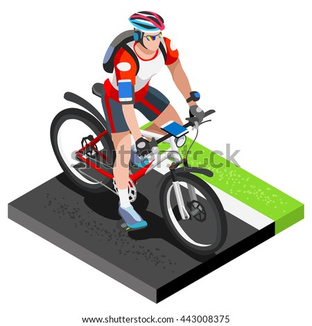 Road Cycling Cyclist Working Out.3D Flat Isometric Cyclist on Bicycle. Outdoor Working Out Road Cycling Exercises. Cycling Bike for Bicyclist athlete Working Out training Vector Image. - stock vector