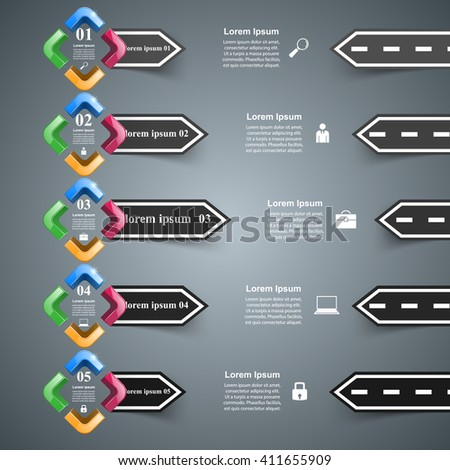 Road 3D digital illustration Infographic. - stock vector