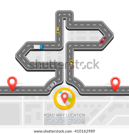 Road direction. Paved path on the road. Vector background - stock vector